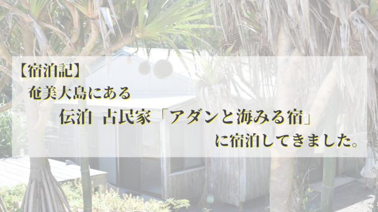 【宿泊記】奄美大島の伝泊 古民家「アダンと海見る宿」に泊まってきました。