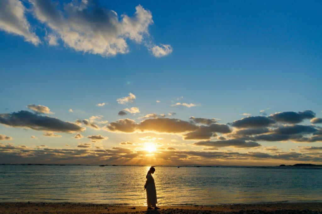 伝泊「水平線と朝陽の宿」 夕景